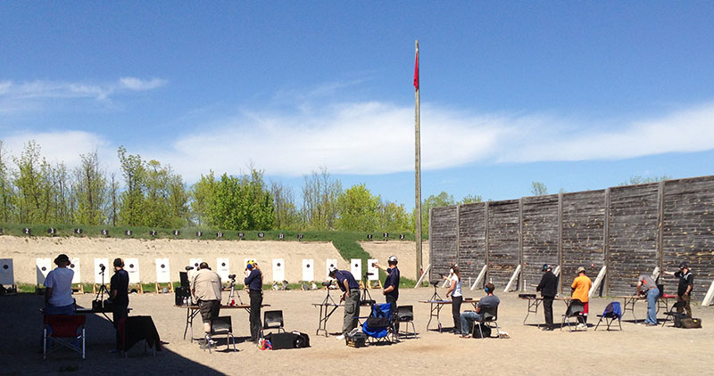The firing line at an ISSF match during the Don Moore Memorial Pistol Matches.